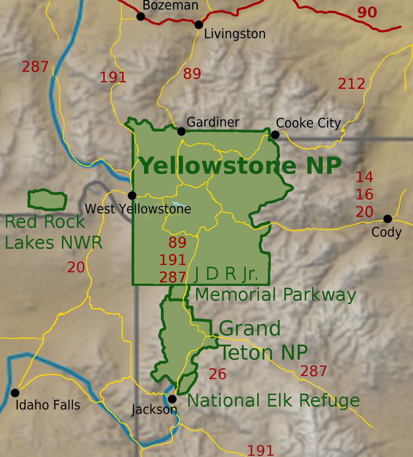 Yellowstone Karte.Yellowstone Nationalpark
